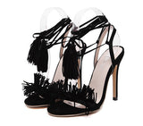 Hot 2016 European Summer Footwear Woman Tassle Ladies Shoes High Heeled Sandals Open Toe Women's Shoes Large Size 40 Black /Red