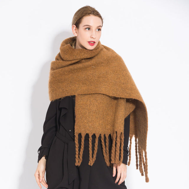 RUNMEIFA Women shawl scarf autumn winter generous sjaals The brand new fashion acrylic pure coffee camel colored tassel shawl