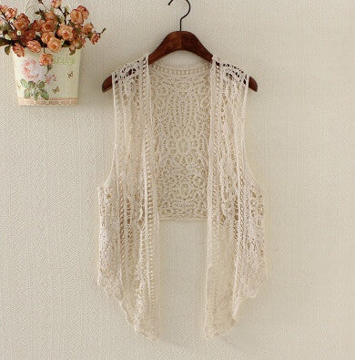Asymmetric  Cardigan Summer Beach Boho Hippie people style Crochet crop top  Embroidery Blouse