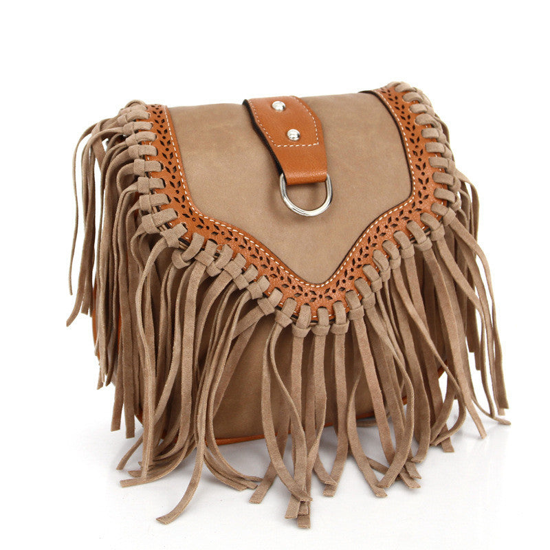 2016 Suede Bucket Bag Women Handbag Faux Fringe Tassel Shoulder Crossbody Women Messenger Bags Boho Style women bag