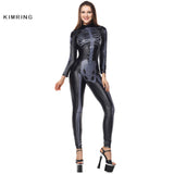 Kimring Sexy Bones Halloween Costume Cosplay Black Jumpsuit Skeleton Waist Cincher Costume Body Shaper Adult Costume for  Women