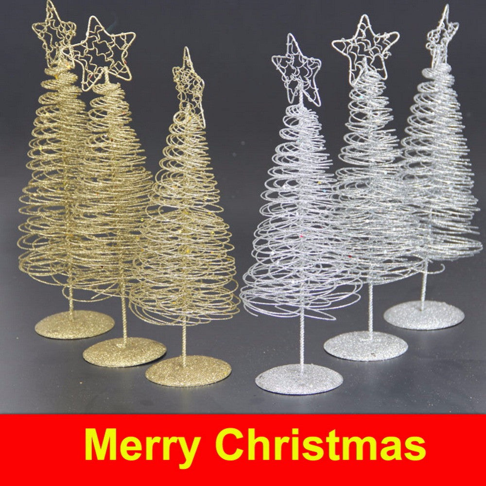 Christmas Iron Wire Tree Five-pointed Star Home Garden Ornaments Home Decoration Mini Desktop Christmas Gift