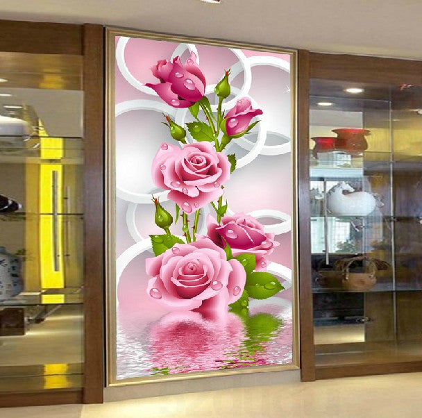 5D Needlework Diy Diamond Painting Cross Stitch Pink Rose Diamond Embroidery Flower Vertical Print Rubiks Cube Drill 80x40cm