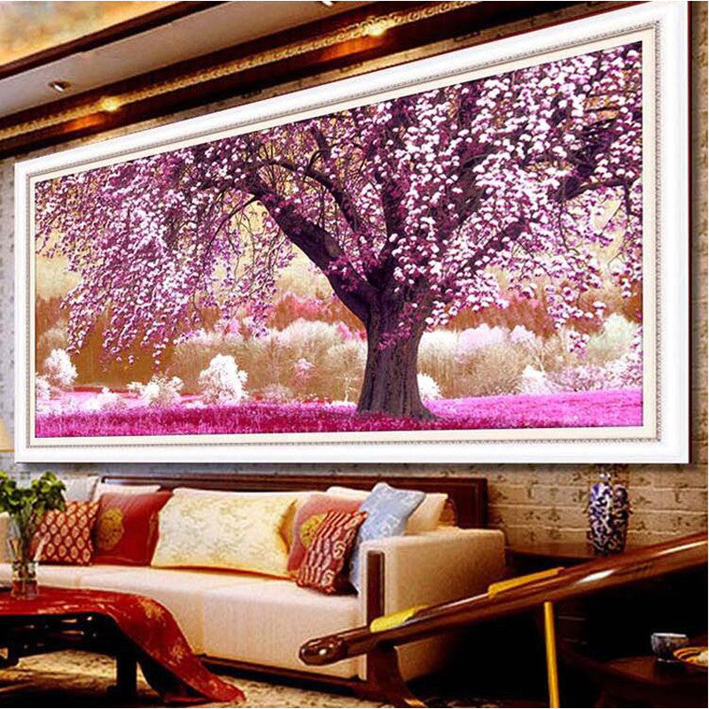 90*43cm printed bead cross stitch sets for embroidery diamond rubiks cube round diamond painting flower Romantic cherry blossoms