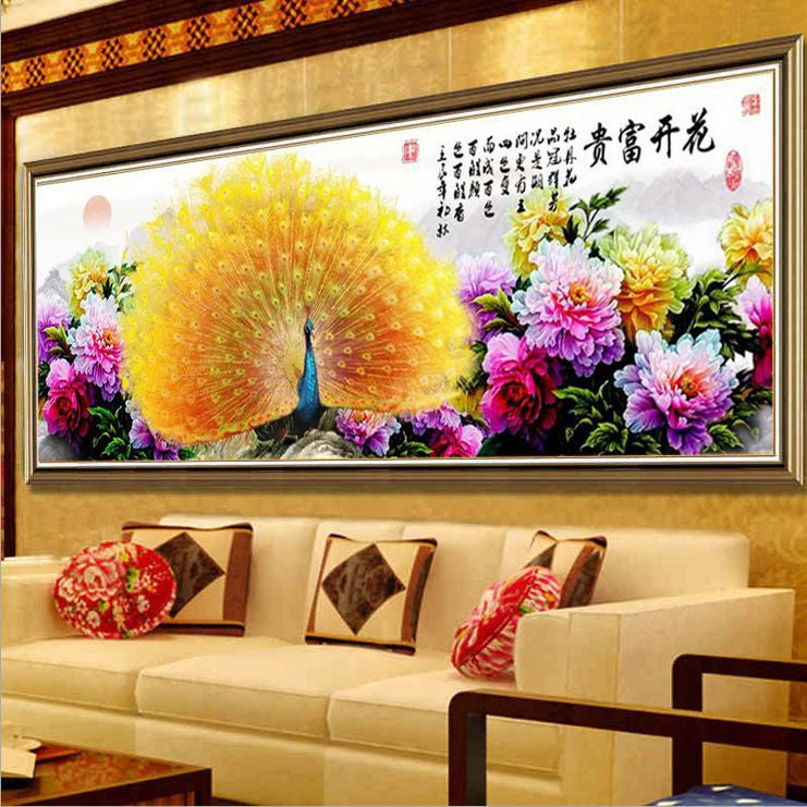 180X75CM Diy Full 5D Rubik cube diamond painting Cross Stitch Animal Rich Peacock and Peony Hand mosaic Rhinestone embroidery
