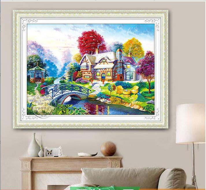 2016 5D Needlework Diy Diamond Painting Cross Stitch Fairy homes Diamond Embroidery Landscape Rubiks Cube Drill Picture mosaic