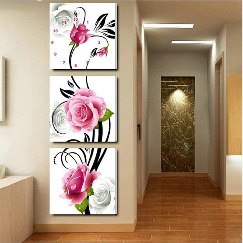 home wall stickers mosaic rubik cube 5d diy diamond embroidery painting kit bead cross stitch set flower clock triple picture