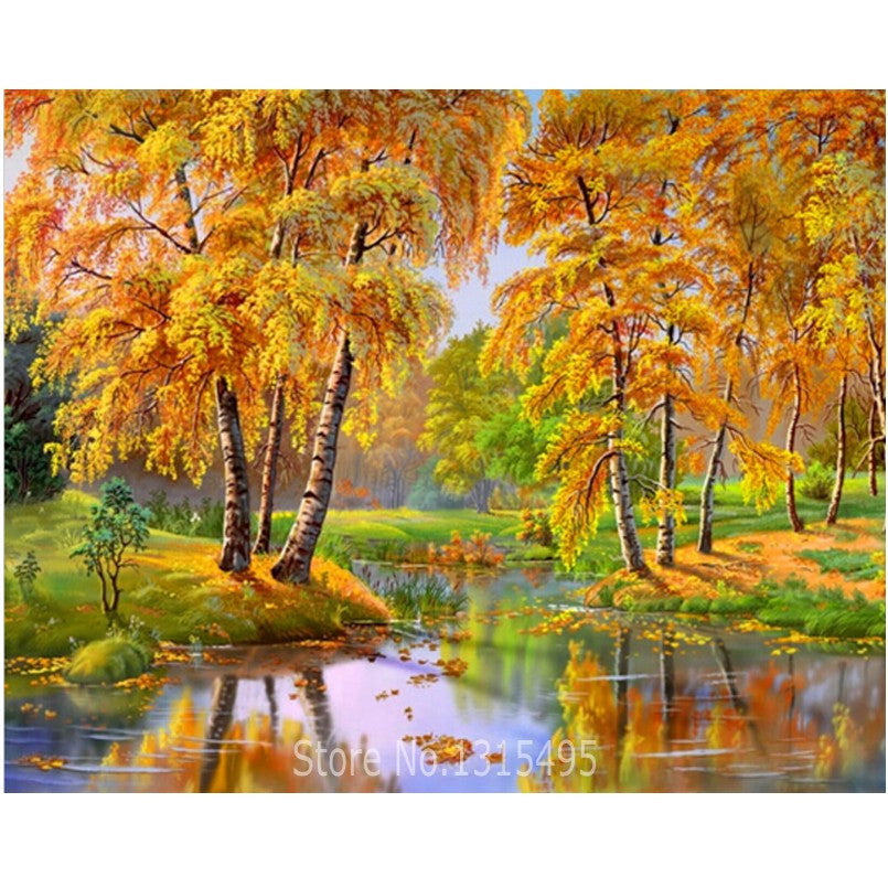 5D Cross Stitch Diamond Painting Round Diamond Embroidery Nature Scenery Mosaic kit Rubik Cube Drill Full Picture Pastes E173