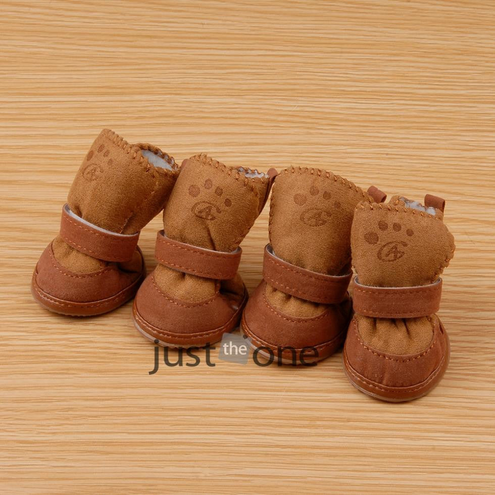 Pets Dogs Cats Puppy Pink/Coffee Lovely Winter Warm Soft Cozy Cotton Boots Shoes 4pcs hot