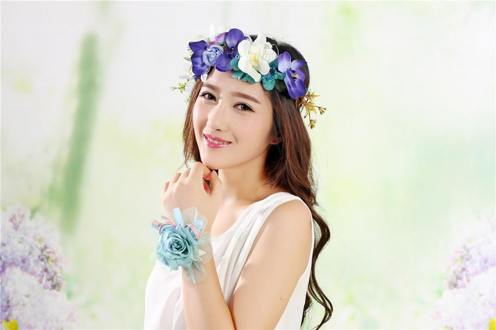 2016 new women handmade Rose Flower Wreath Crown Garland Halo for Wedding Festivals Girl Rose Wreath Headpiece Boho Floral crown