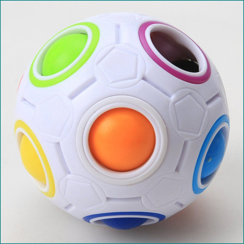 Yj Magic Cube Rainbow Ball Puzzle Spherical Football Speed Cube Puzzle Educational Toys For Children Adult Novelty Magic Cube