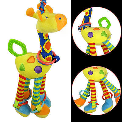 2016 Baby Toys Plush Baby Rattles Soft Baby Handing Toy 46cm Cartoon Animal Teether Rattle Early Educational Doll Giraffe