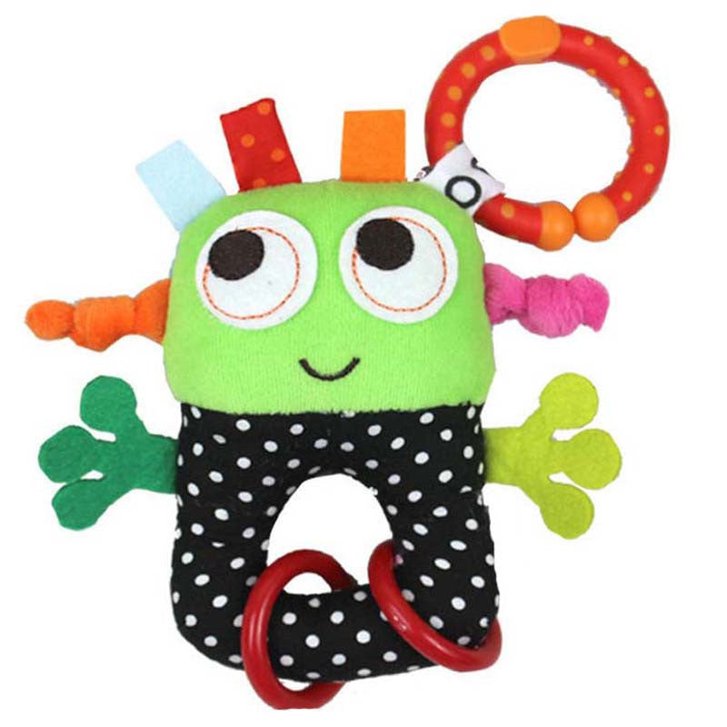 wholesale baby rattles toys small robots hanging infant  Bell rubber ring pip boy stroller teethers toys