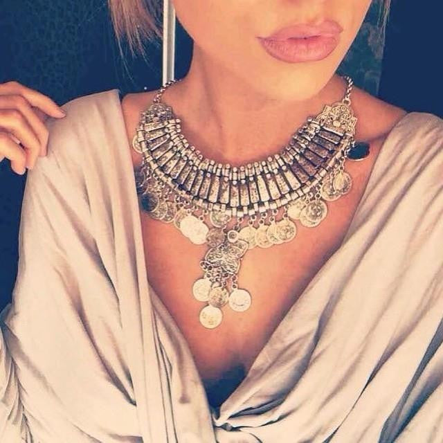 2016 New Bohemian Vintage Chunky maxi Statement Necklaces for Women Exaggerated Silver Coin Choker Necklaces&Pendants