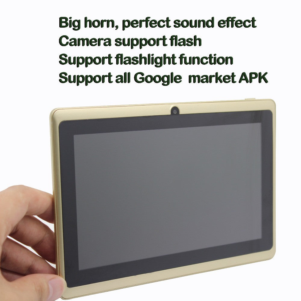 Big speaker Strengthen Volume 7 inch Android Tablet pc 1GB Rom 16GB Ram Dual Camera Quad Core Gold Color Support Google Play