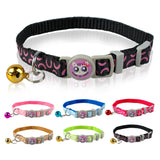 6 Colors Nylon Dog Collar Semicircle Printing Pet Cat Collars cachorro with Bells Neck for 7-11 inch