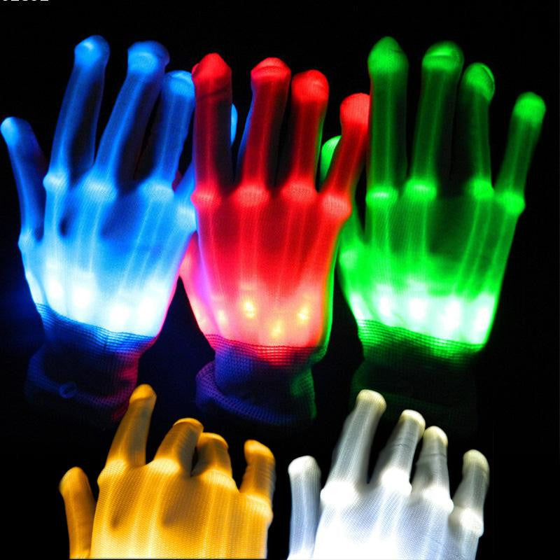 1pair Lighting LED Gloves glow colorful skeleton gloves For Party decorations dancing luminous toys A3