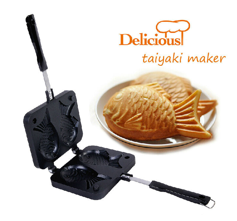 Taiyaki Maker 2016 Home DIY Japanese Fish-Shaped Bakeware Waffle Pan with 2 Sided Taiyaki Fish Mold Cake Tools