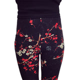 Female Leggings 2016 leggins Spring Autumn Graffiti Flowers Soft Graffiti Printed Women Mid Waist Slim Sportswear Pant K092