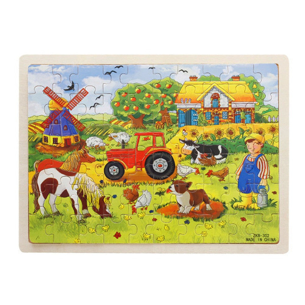 60-Piece / set Miller's Farm Wooden Jigsaw Puzzle Baby Kids Children Educational Toy