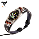 Newest Harajuku Style Women Leather Maple Leaf Bracelet Wristband Punk Rock Vintage Jewelry Color Weed Round Resin Bead Bracelet