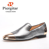 PIERGITAR 2016 new arrive Handmade Men Three color bright Sheepskin shoes with front and back Metal Weeding and prom men loafers