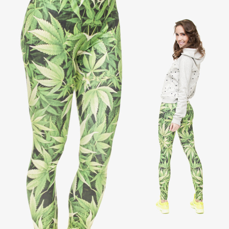 Mix City Green Weed 3d Printing Leggings for Women 100% Brand Fashion Leggins Stretchy Sexy Fitness  Leggings Adventure Time