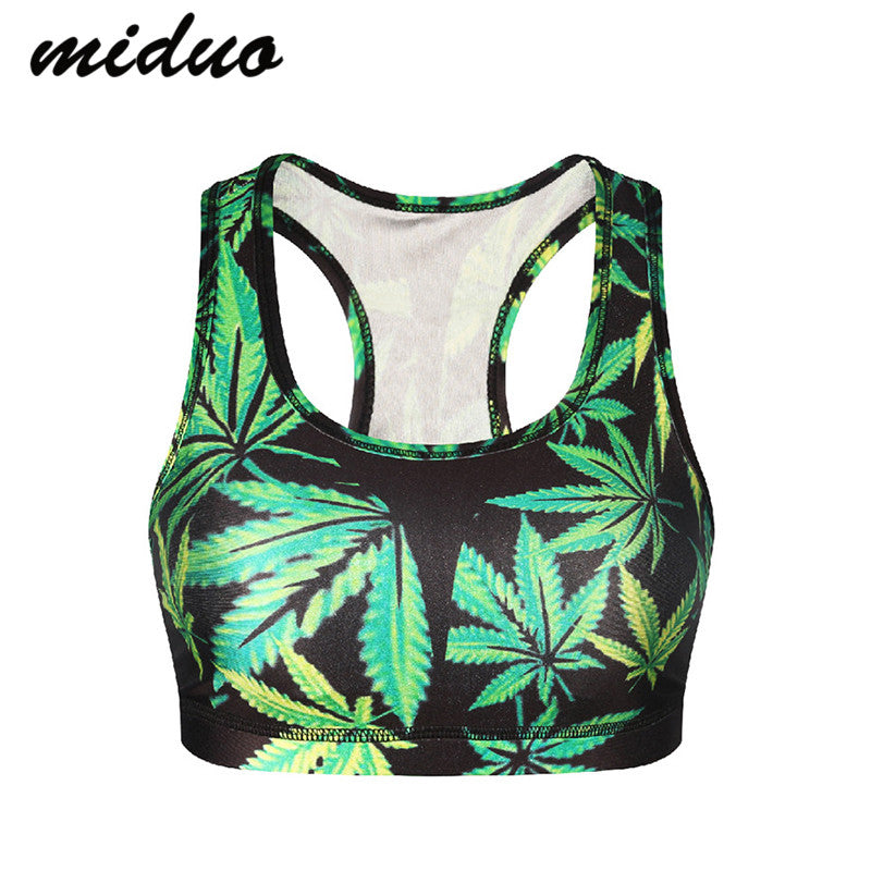 Green Leaf Weed Yoga Bra Women tank top Wireless Active Sports Bra Underwear Women Breathable GYM Vest Running Tops
