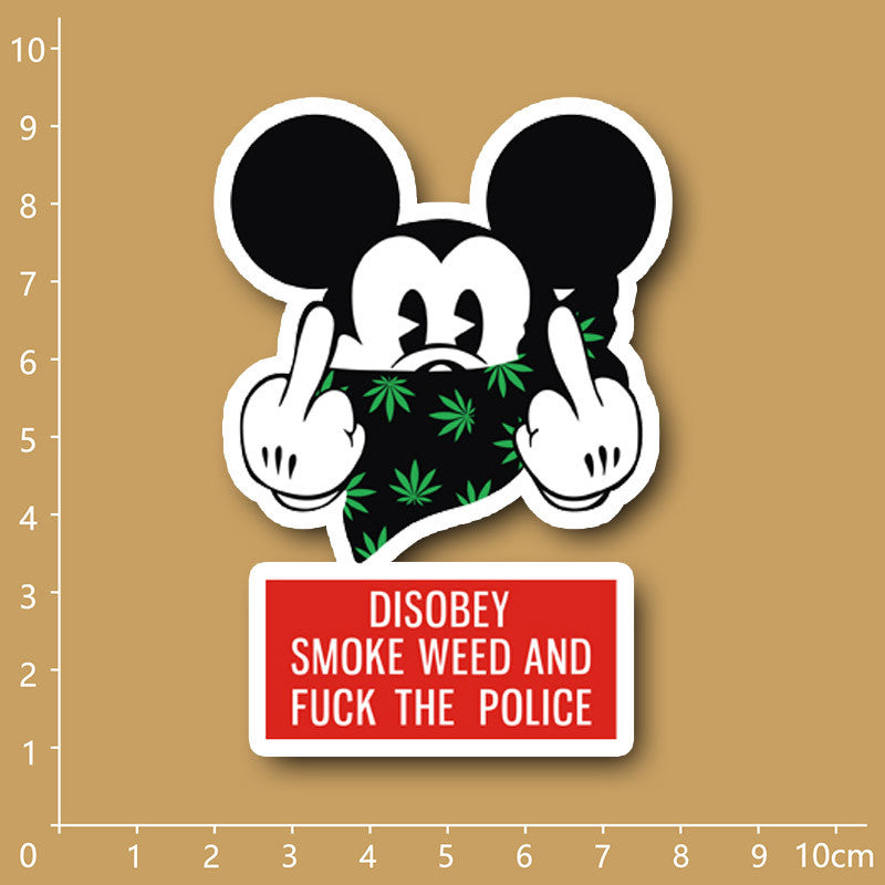 Mickey Mouse somke weed Notebook/refrigerator/skateboard/trolley case/backpack/Tables/book PVC sticker