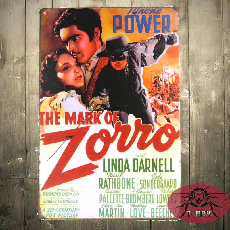 The Mark of Zorro movie poster Vintage Enameled Metal Wall Sign tin sign Plaque 20x30cm K-46
