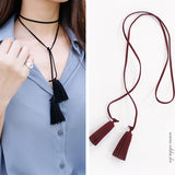 Fashion Brand Style Tassel Necklaces Pendants Suede Fabric Line Long Chain Choker Necklace 1L2019