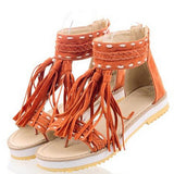 Plus Size New Brand Roman Woman Summer Sandals Flat Women Fashion Tassel Lady Sandals Gladiator Casual Ankel Wrap Female Shoes