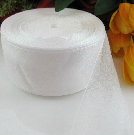 (10 yards/lot) 2'' (50mm) white organza ribbons wholesale gift wrapping decoration Christmas ribbons D001