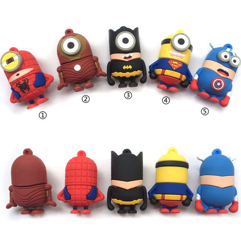 FULL capacity usb minion super hero man bat man usb flash drive 32GB 8GB 16GB 64GB 4GB Memory Stick Pen Drive usb 2.0