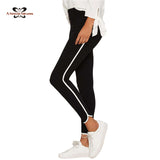2016 Autumn New Women Leggings Slim Stretch Black High Waist Pencil Pant Leggings Side White Pipeline Down Legging SKU-1161