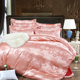 Discount Luxury Tribute Silk satin Jacquard Bedclothes  Bedding set Wedding Noble Palace Bed set Cotton bed linen QUEEN SIZE