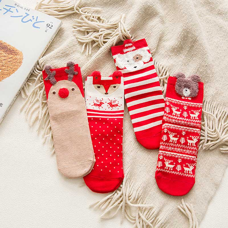 4Pairs Cute Animal Christmas Red Happy Socks Elk & Fox Patterned Christmas Gift Cute Kawaii Breathable Cotton Women Short Sock