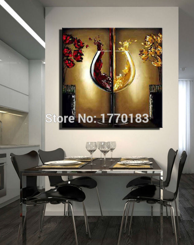 The red wine glass painting handmade Modern Abstract Flower Oil Paintings large Canvas art cheap dining room Wall decor Picture