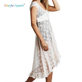 Colorful Apparel New Boho 2015 Summer Hollow Floral Corchet Lace Dresses Asymmetric Hem Women Maxi Dress  CA137A