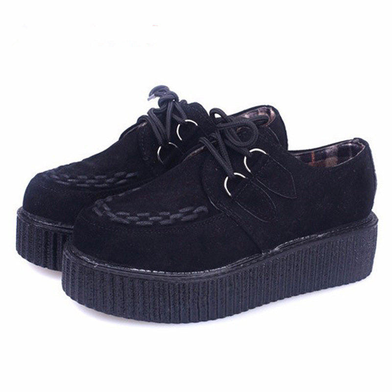 Creepers Shoes Woman Lace Up Flats Shoes Creepers Platform Shoes Black Plus Size 40 41