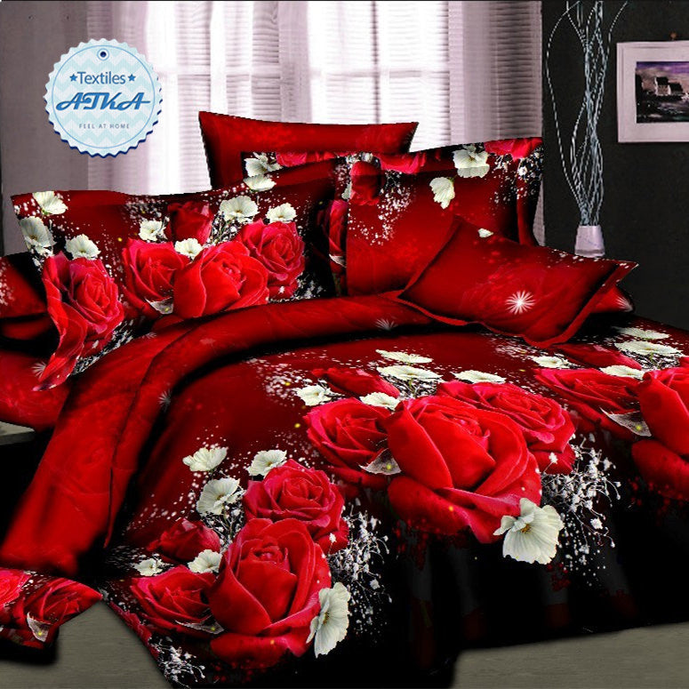 Hot sale 3d bedding sets 4pcs duvet cover set queen twin king bed set red rose nice bedclothes romantic #2