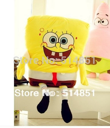 50cm Wholesale  Large Sponge Bob Square Pants and Send Big Star Doll soft  pillow plush toy  Birthday Gift free shipping