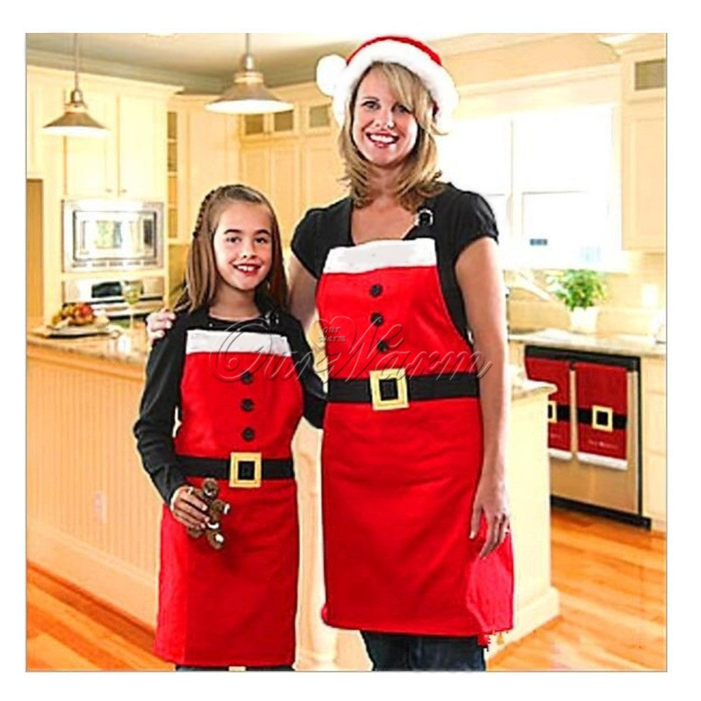 Novelty Christmas Apron Kitchen Non-woven Christmas Cooking Aprons for Woman Santa Claus Christmas Dinner Party Decorations