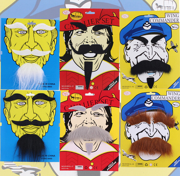 10Sets Halloween Christmas Costume Party Fake Moustache Beard Eyebrow Self Adhesive Mustache Fancy Dress Party Fun Rogue Boy