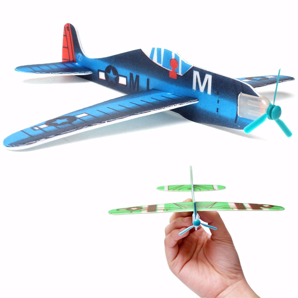 10Pcs DIY Flying Glider Planes Educational Toys For Children  Hand Throwing Gift Birthday Christmas Party Bag Filler Multi Color