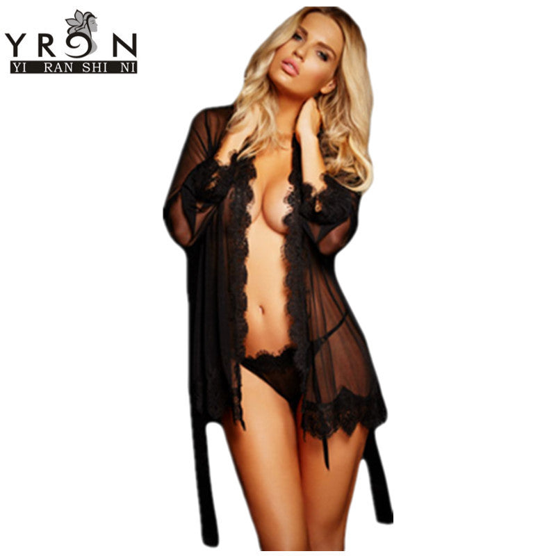 Sex Clothes For Women Lingerie Babydoll Lace Trim Robe with Thong Summer Sexy Nightwear LC22530 Erotic Lingerie Porno Costumes