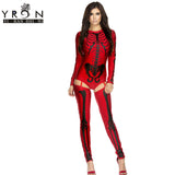Yi Ran Shi Ni Sexy Costumes Halloween Costumes for Women Red Bad To The Bone Halloween Skeleton Costume LC8948
