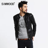 SIMWOOD Brand Motorcycle Leather Jackets Men Autumn Winter Clothing Men Leather Jackets Male Casual Coats Free Shipping