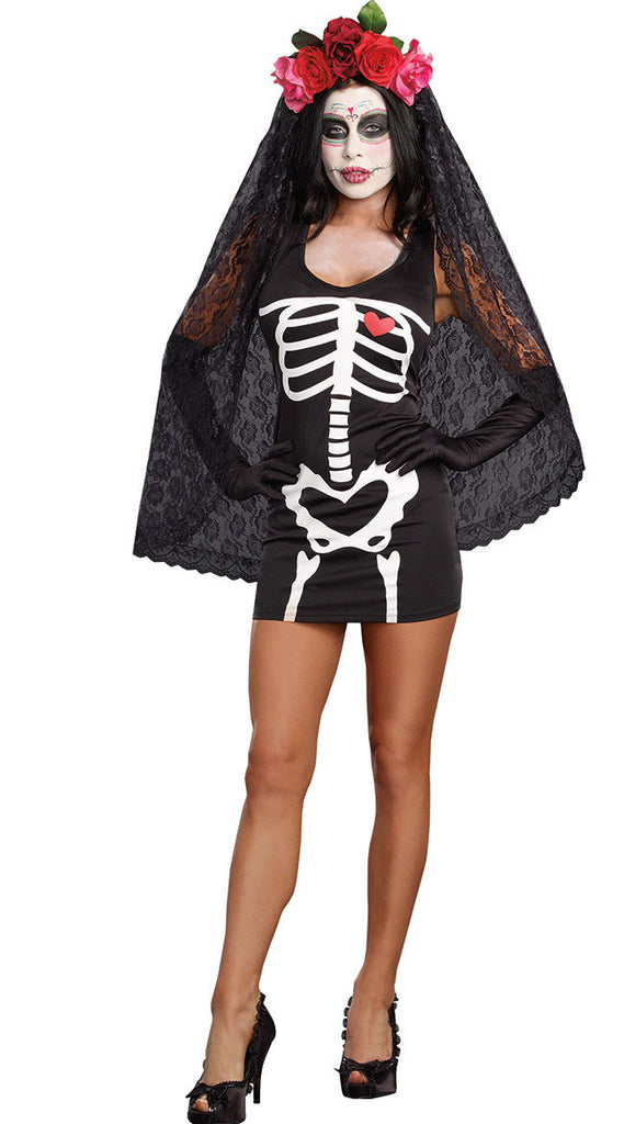 Lady Halloween Costumes Women Cosplay Costumes Bride and The Skeleton Uniform Girls Make Up Party Dress Role Playing Suit B-4170