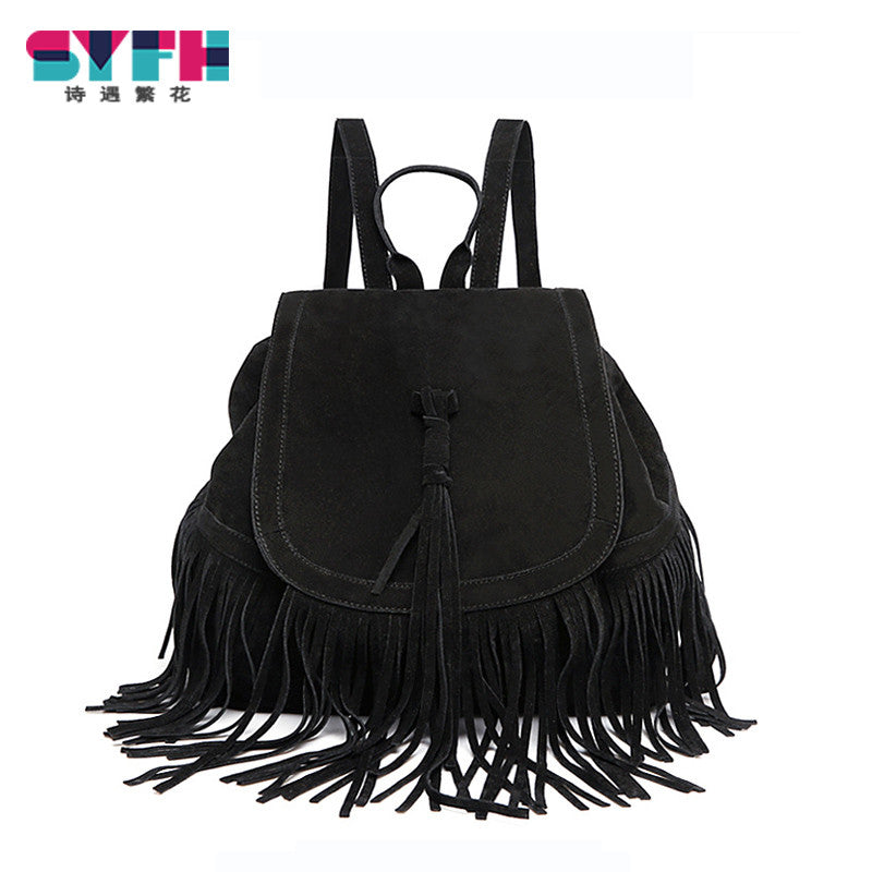 Tassel Women Backpack Vintage Drawstring PU Leather Bags Women Backpacks Suede Schoolbags For Teenagers Girls mochila feminina